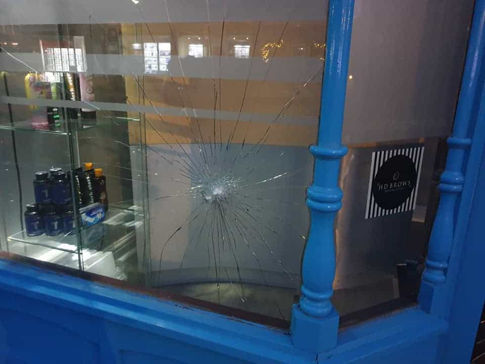 Targeted attack on St. Tanz tanning salon leaves 3 front windows smashed