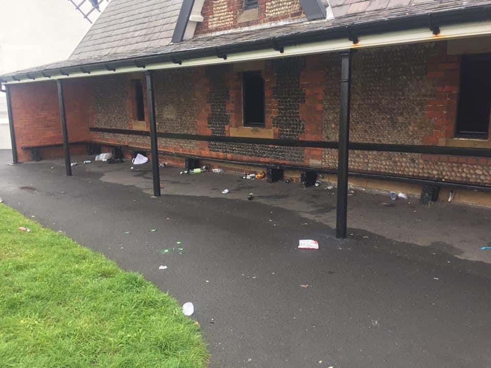 Public shelter trashed with used condoms, broken glass and urine