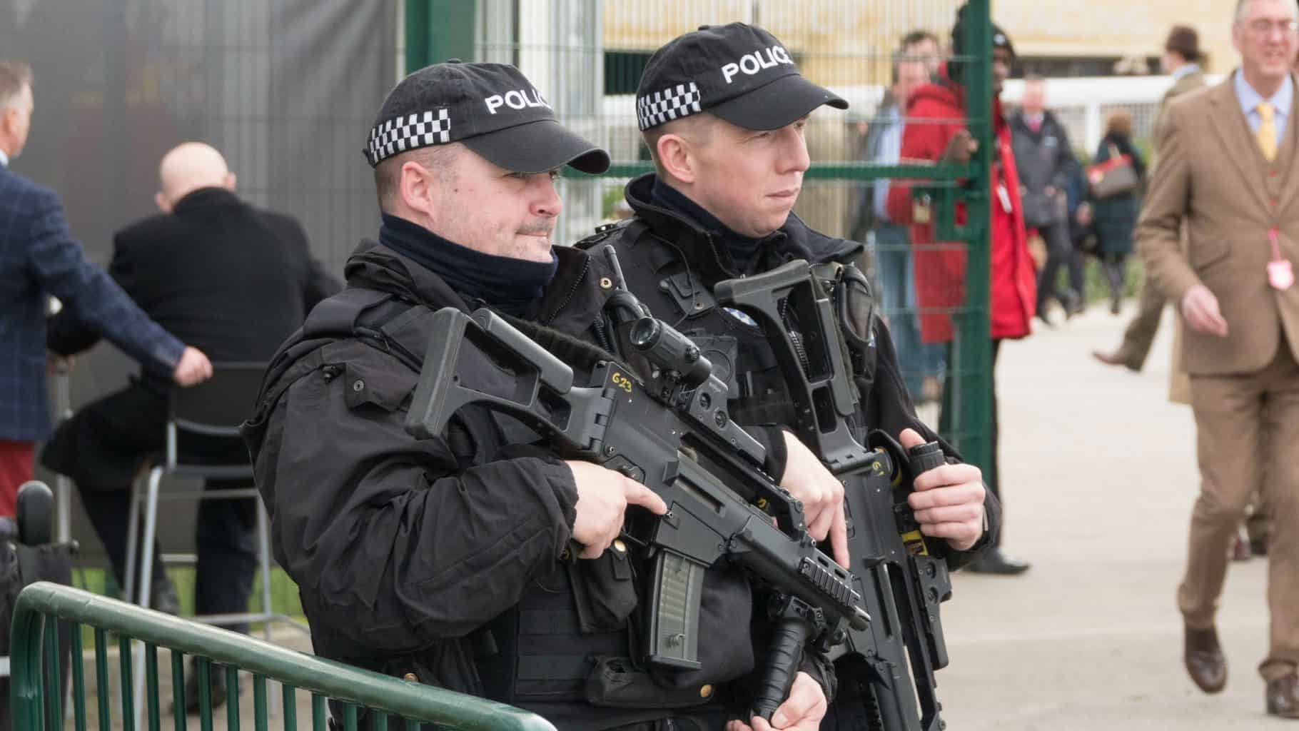 Firearm police in training patrolling Lancashire today