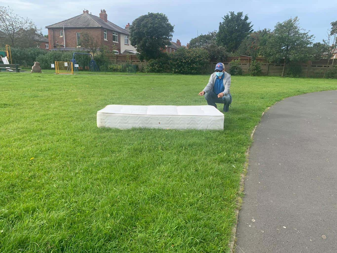 Urine stained mattress dumped on local playing field, just metres from children's play area